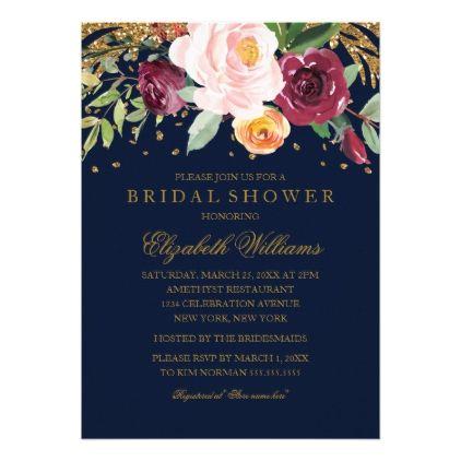 Burgundy Navy Floral Glitter Bridal Shower Card - wedding invitations diy cyo special idea personalize card