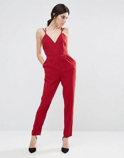 True Decadence Petite | True Decadence Petite Strappy Plunge Front Jumpsuit