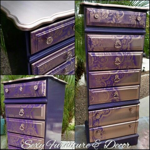 Purple and Rose Gold Lingere Dresser   Sexy Furniture   https://m.facebook.com/groups/802186543148880?ref=bookmarks