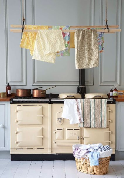 Classic Aga with the wash drying above it.