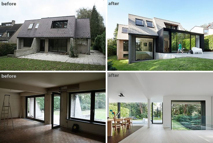 BEFORE & AFTER - This family home renovation transformed an old, dated and closed-in home into a bright, open and modern home that takes advantage of the backyard views.