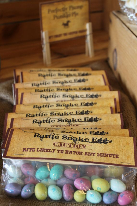 Etsy: Rustic Western Themed Rattle Snake Eggs Party Favor Labels