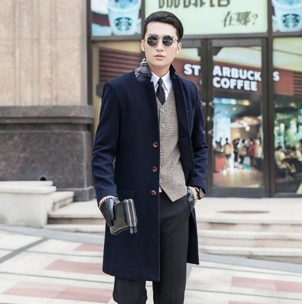 Black khaki long sleeve suit collar wool coat men jackets and coats mens slim wool single buttons winter blue trench coats 9XL