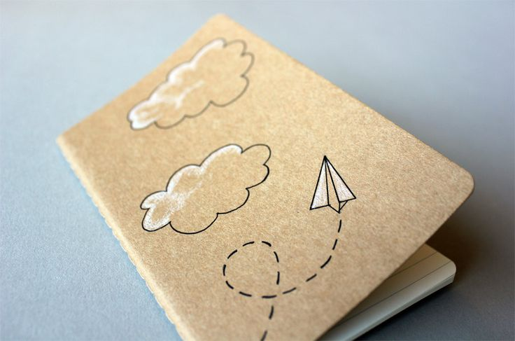 Hand Drawn Pocket Journal Moleskine Cahier Notebook - Paper Airplane Illustration. $12.00, via Etsy.