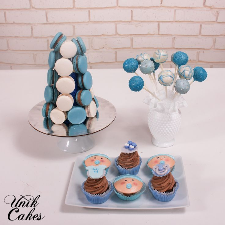 White and blue baby shower dessert table