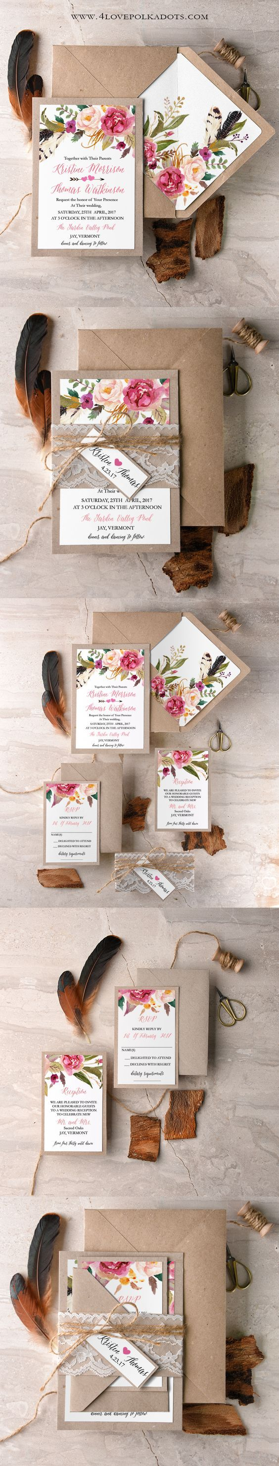 Boho Floral Wedding Invitation - Eco Papers & Lace  ||  @4lovepolkadots
