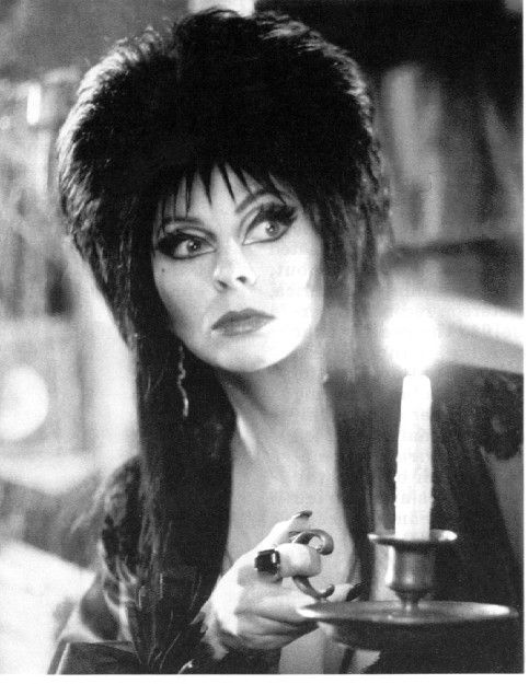 Elvira Mistress of the Dark ~~ Cassandra Peterson (born September 17, 1951) is an American actress best known for her on-screen horror hostess character Elvira, Mistress of the Dark. She gained fame on Los Angeles television station KHJ wearing a black, gothic, cleavage-enhancing gown as host of Movie Macabre, a weekly horror movie presentation. Her wickedly vampish appearance is offset by her comical character, quirky and quick-witted personality, and Valley girl-type speech.
