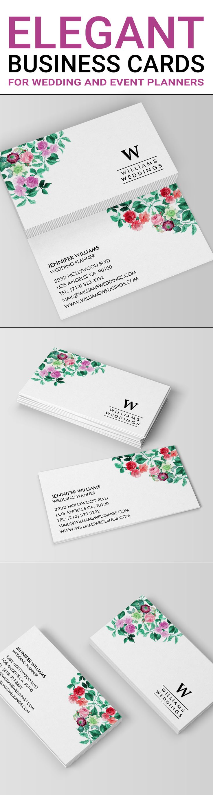 Elegant business cards for wedding planners and event planners. The floral business card design feature pink, purple red and green flowers. This is an online template ready for you to personalize. These elegant floral business cards will suit a florist as well. Get attention for your brand and business with this beautiful business card design.