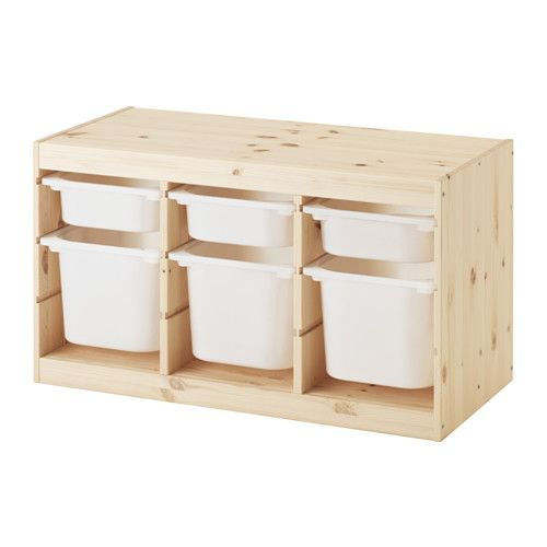 IKEA TROFAST Storage combination with boxes Light white stained pine/white 94x44x52 cm A playful and sturdy storage series for storing and organising...
