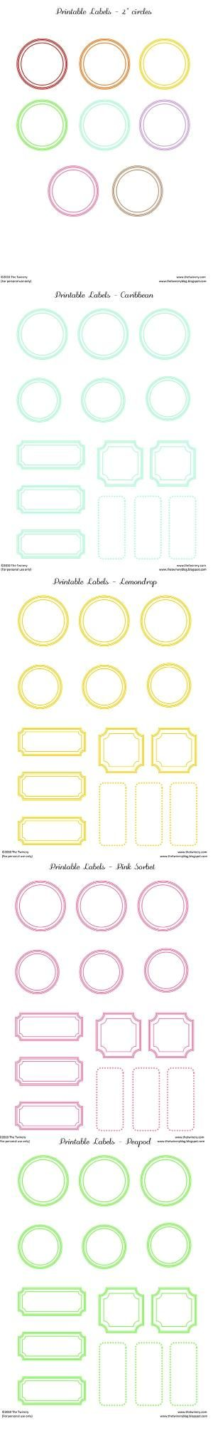 Free printable labels - in many colours by mtellibus