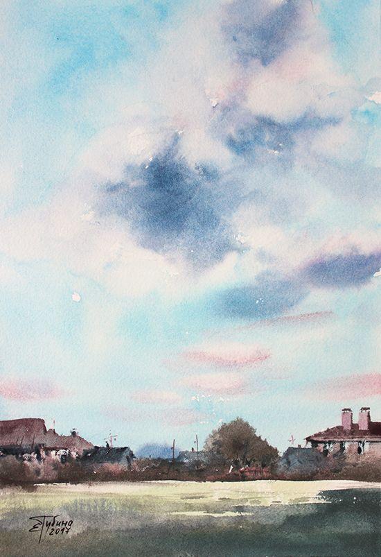 «Летний пейзаж» живопись акварелью Екатерины Губиной