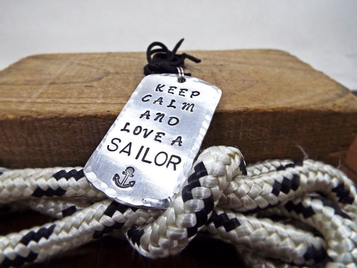 Keep Calm And Love A Sailor Nautical Necklace - Aluminum Personalized Hammered Necklace with Anchor - Gift for sailors & Sailing enthusiast by Aluminiopassions on Etsy