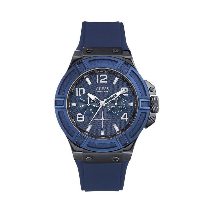 Guess Rigor W0248G5. Modny zegarek męski Guess RIGOR W0248G5 charakteryzuje się połączeniem grafitu i niebieskiego. Czasomierz skierowany do mężczyzn, którzy cenią sobie ciekawe dodatki w garderobie. #timetrend #guess #zegarek #zegarki