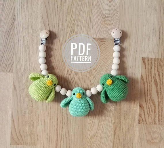 Crochet Pattern Stroller Chain With Birds Amigurumi Birds