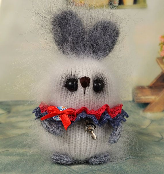 White and grey bunny toy Easter bunny knitted rabbit hand knit