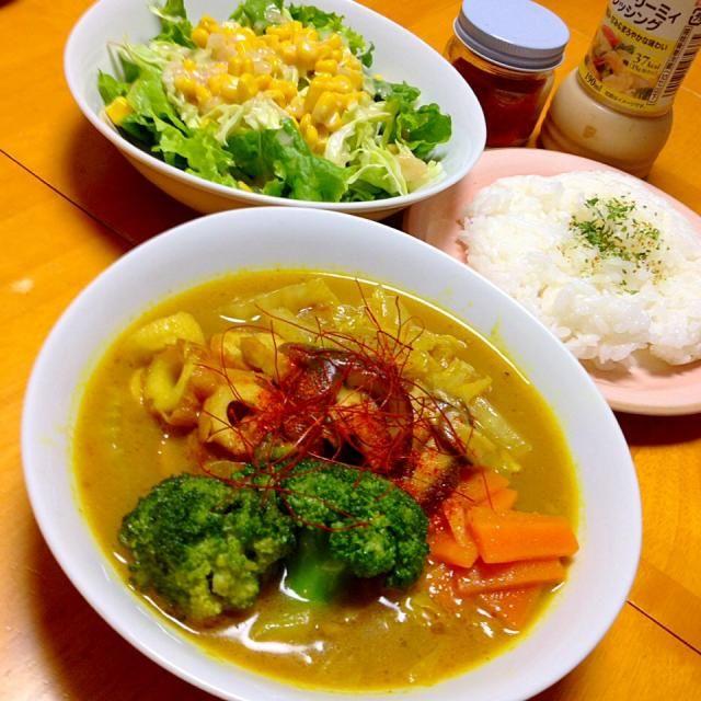 晩御飯は自作スープカレーとサラダ - 53件のもぐもぐ - 白菜とチクワの和風スープカレー by fighterscurry
