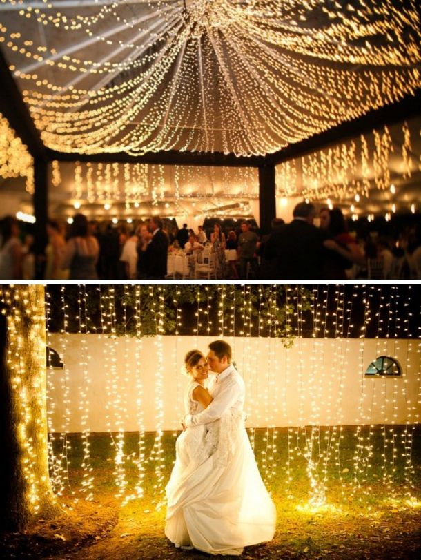 The reception is going to be filled with these lights and I want a photo in front of a wall of lights (but more depth of field and closer up)