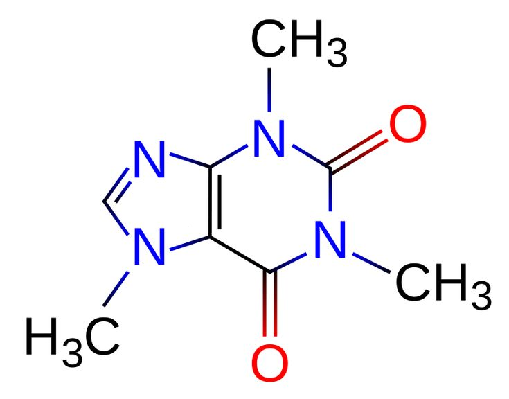 This structural formula for molecule caffeine shows a graphical representation of how the atoms are arranged.