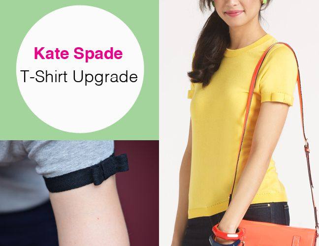 DIY Kate Spade T-Shirt Upgrade (grosgrain ribbon addition)