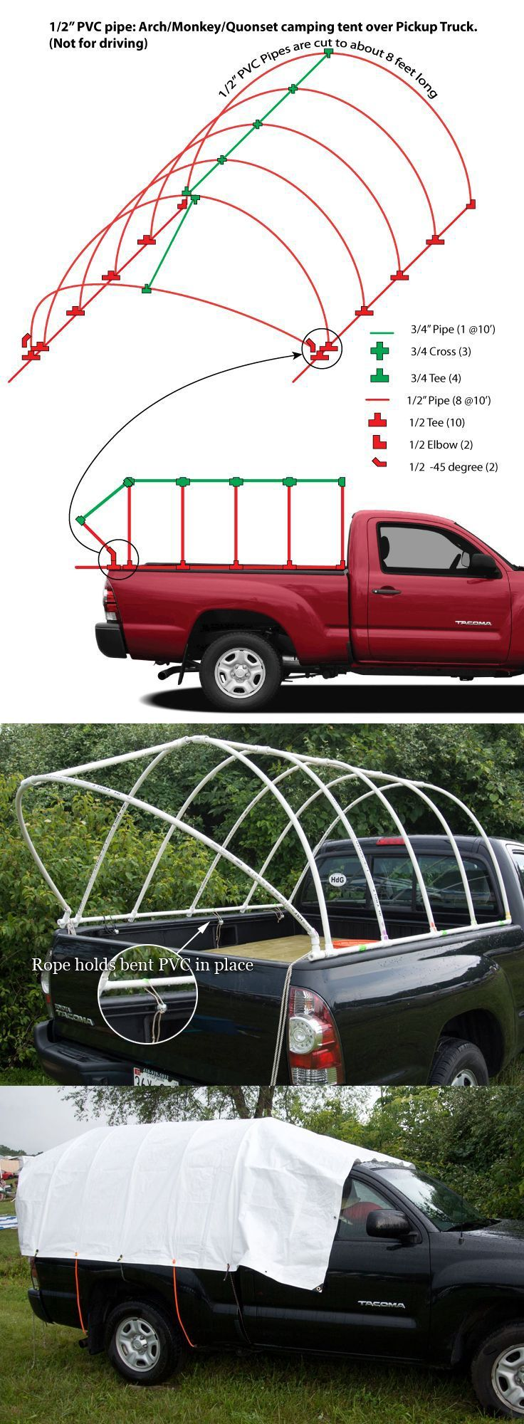 PVC Pipe Truck Tent: Monkey Hut / Quonset Hut DIY camping tent over Pickup Truck. Music Festival, Burning Man Festival.