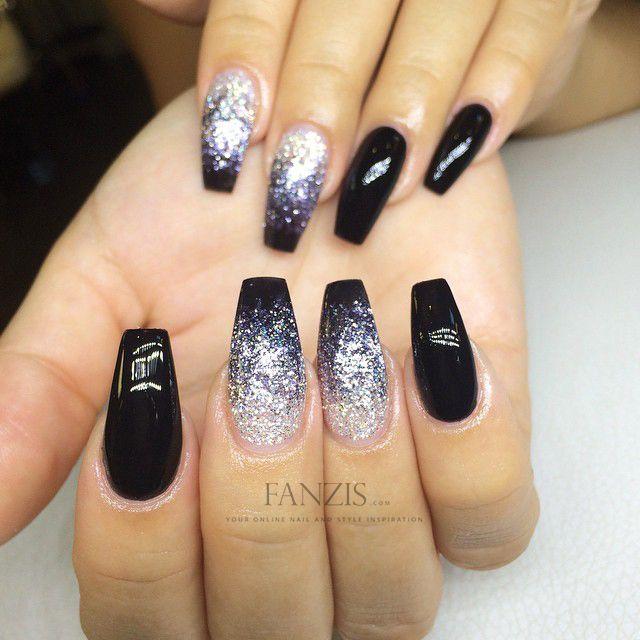 black ombre glitter nails