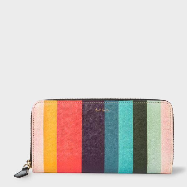 Paul Smith Women's Large 'Artist Stripe' Print Leather Zip-Around Purse
