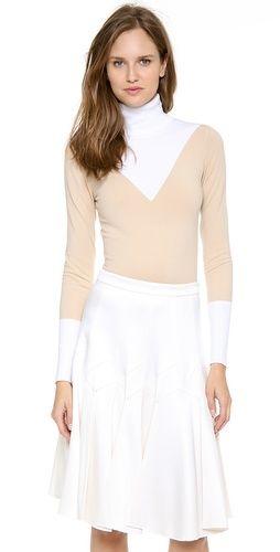 Derek Lam Jersey Bicolor Turtleneck Sweater   SHOPBOP
