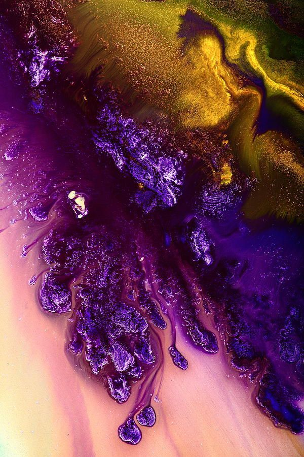 Gold Abstract Painting - Vivid Abstract Art Purple Fugitive-gold Tones Fluid Painting By Kredart by Serg Wiaderny