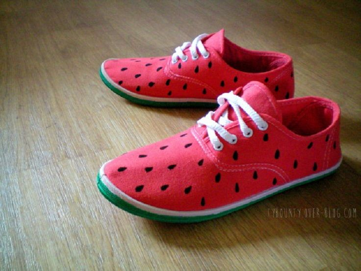 Diy Painted Watermelon Shoes - 12 Summer-Inspired Watermelon DIY Ideas