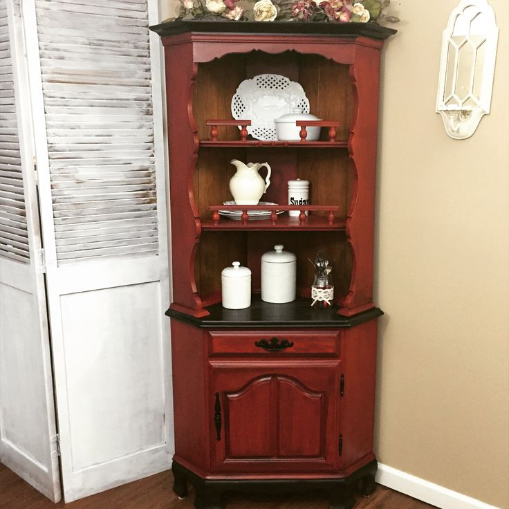 Beautiful Farmhouse Hutch Corner China Cabinet Painted in