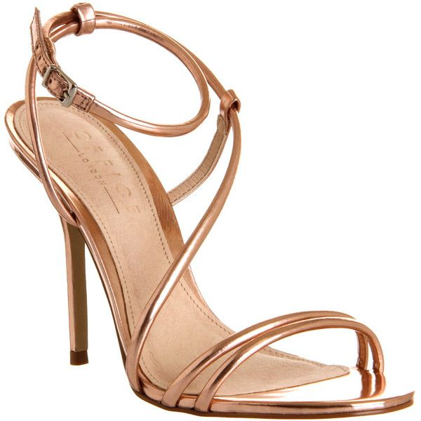 Office Jools Strappy Sandal ($47) found on Polyvore featuring shoes, sandals, heels, gold, sapatos, high heels, rose gold, women, strappy high heel shoes and strappy sandals
