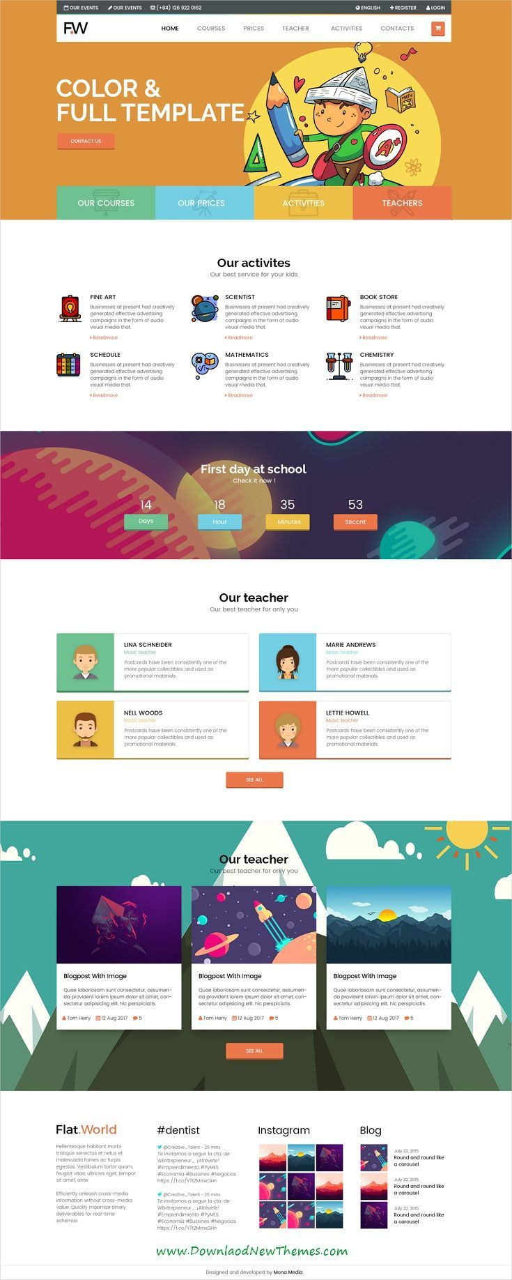 Flat World Is Clean And Modern Design Colorful Multipurpose Psd Template For School And Kindergarden Website With Website Layout Web Design Clean Web Design