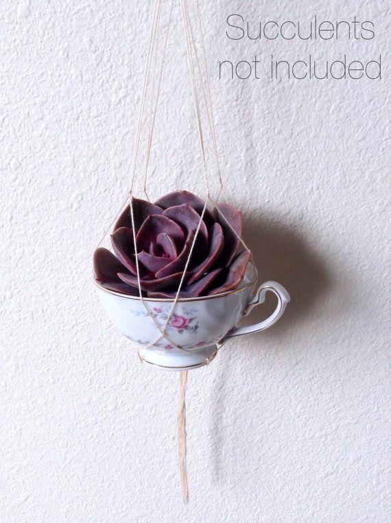 Vintage Teacup Planter ~ Pink Floral Teacup Mini Macrame ~ Succulent Planter ~ Bohemian Style ~ Boho Decor ~ Handmade Macrame ~ Beach Decor