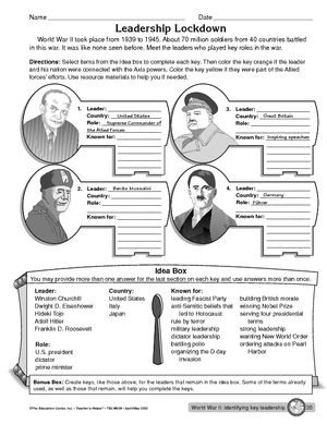 Worksheet: leaders during World War II