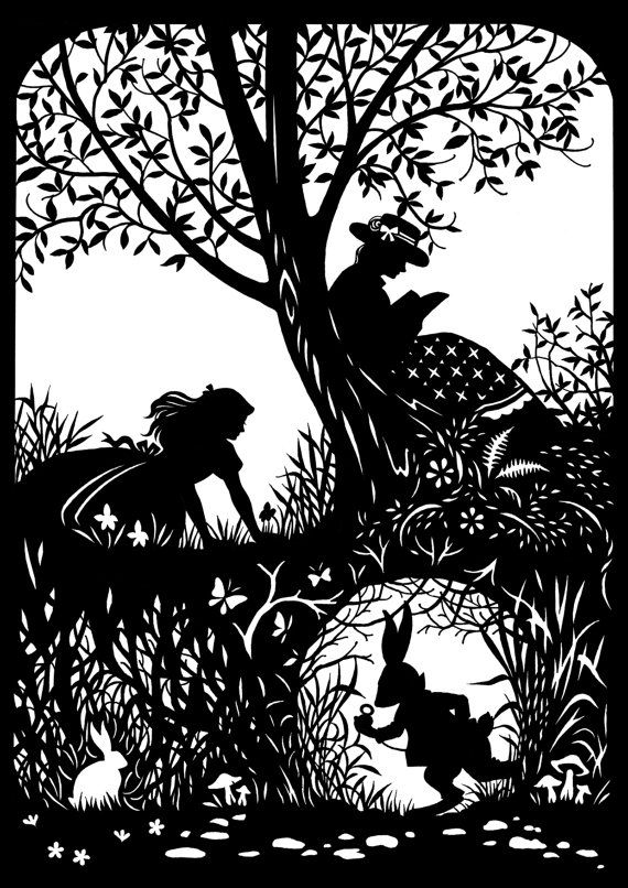 Alice with Rabbit Paper Cutting by CutsByDeborah on Etsy