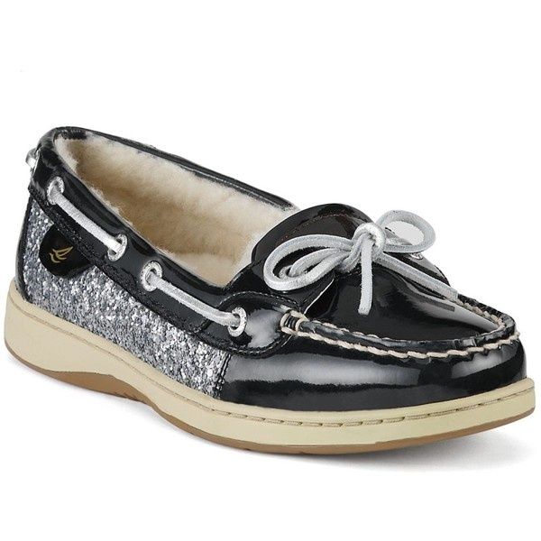 Sperry Top-Sider Women's Shoes, Angelfish Boat Shoes, black patent and  silver glitter