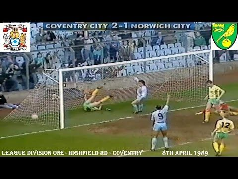 COVENTRY CITY FC BEAT NORWICH CITY FC 2-1 AT HIGHFIELD RD, COVENTRY ON THE 8TH APRIL 1989. THE MATCH WAS PLAYED IN FRONT OF AN ATTENDENCE OF 12,740. THE SCORERS FOR COVENTRY CITY FC WERE DAVE PHILLIPS AND DAVID SPEEDIE AND FOR NORWICH CITY FC ROBERT FLECK.