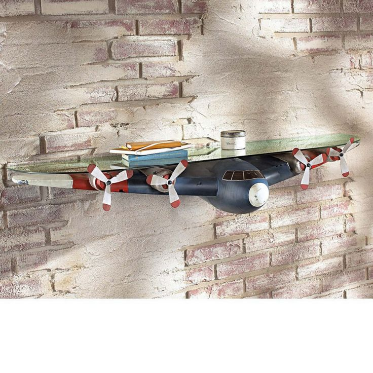 Wandregal Flugzeug - Metall/Glas - Blau/Rot/Weiß
