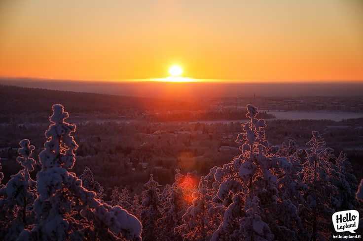 Cold & crispy sunset in January 2014 in Rovaniemi, Lapland, Finland.