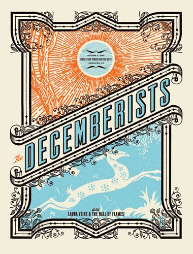 Great line work, colors and typography Vintage Posters, Decemberists Concerts, Gig Posters, Posters Design, Aesthetic Apparatus, Vintage Band Posters, Concert Posters, Concerts Posters, Decemberists Posters
