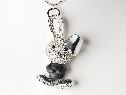 Ninja Crystal Rhinestone Enamel White Ear Bunny Rabbit Small Pendant Necklace