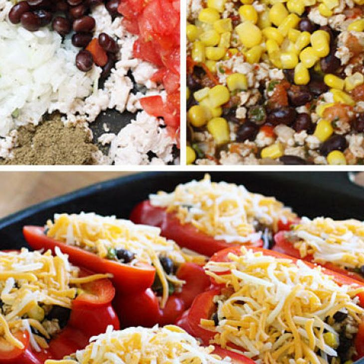 Santa Fe Turkey Stuffed Peppers Recipe- I followed this loosely to ...