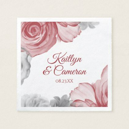 Wedding Napkins   Watercolor Bouquet (Red) - romantic wedding gifts wedding anniversary marriage party