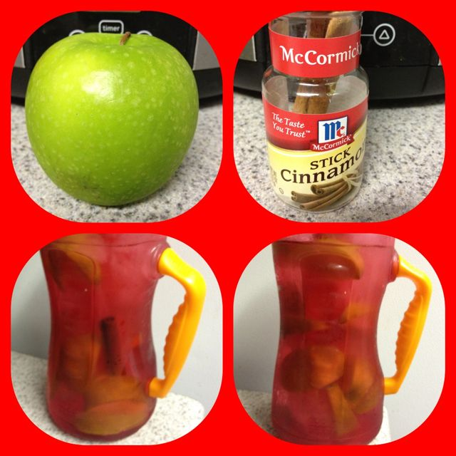 Apple cinnamon water...the original post is under my detox board. Take 1 apple, slice it, put it into a pitcher, add a cinnamon stick, fill 1/2 pitcher w/ ice, then fill w/ h20. Then sip away for a energy fill day! I modified this to my big water bottle so I can just sip out of it all day & added 2 cinnamon sticks! Oh & don't through away your apples & sticks cause you can reuse them 2 to 3 times!Water Bottle