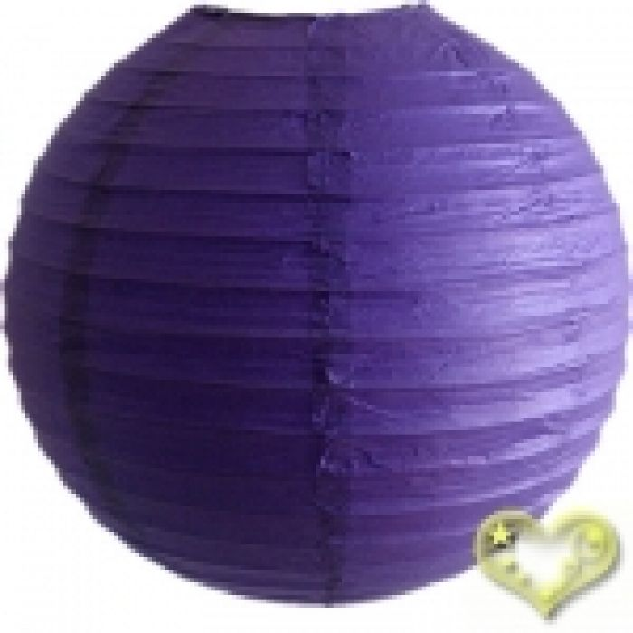 Purple round paper lanterns with an even wire ribbing. Lantern is held open with a wire expander. Lanterns are hand made and may have slight variations in colors from size to size.