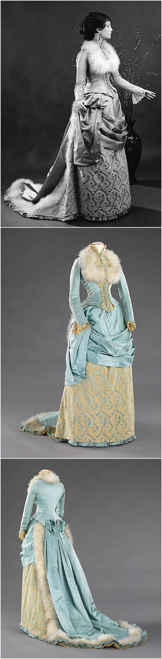 Evening dress, by R. H. White & Co., 1885, at the Met. See: http://www.metmuseum.org/collections/search-the-collections/156559?img=0