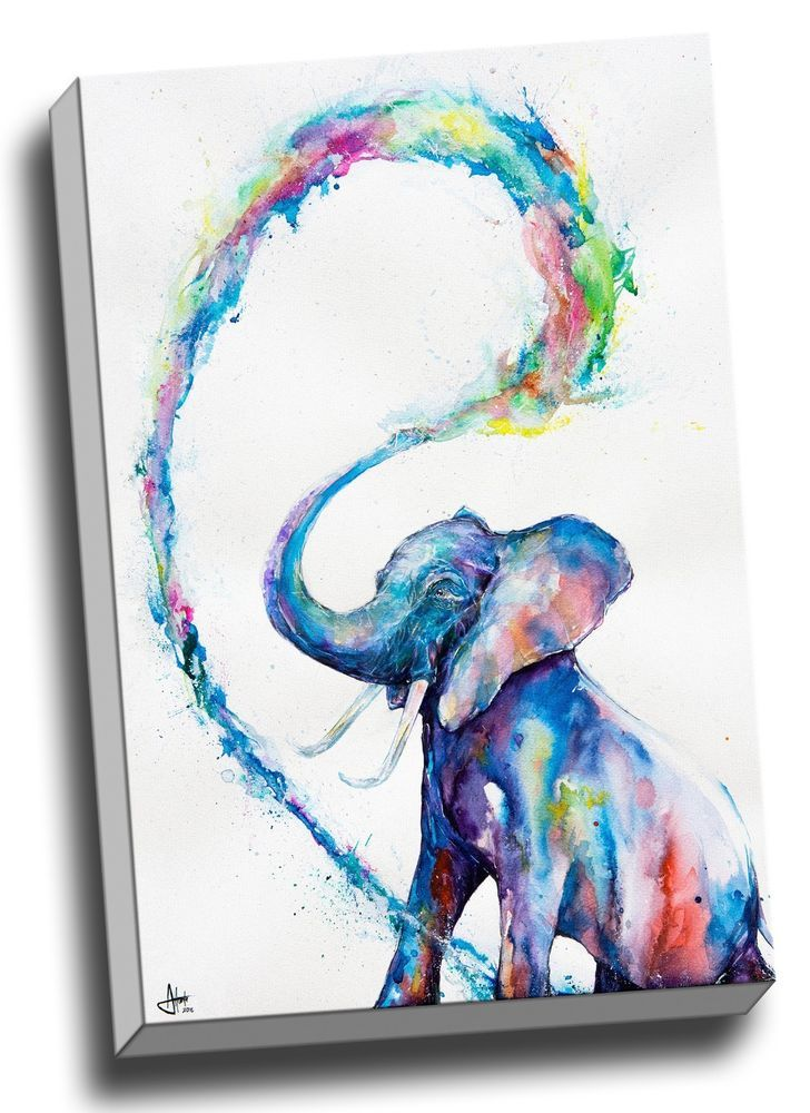 Details About Elephant Abstract Watercolour Canvas Print Framed