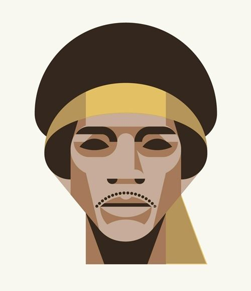 DKNG's 27 Club, Jimmy Hendrix.  very simple and geometric illustraition.