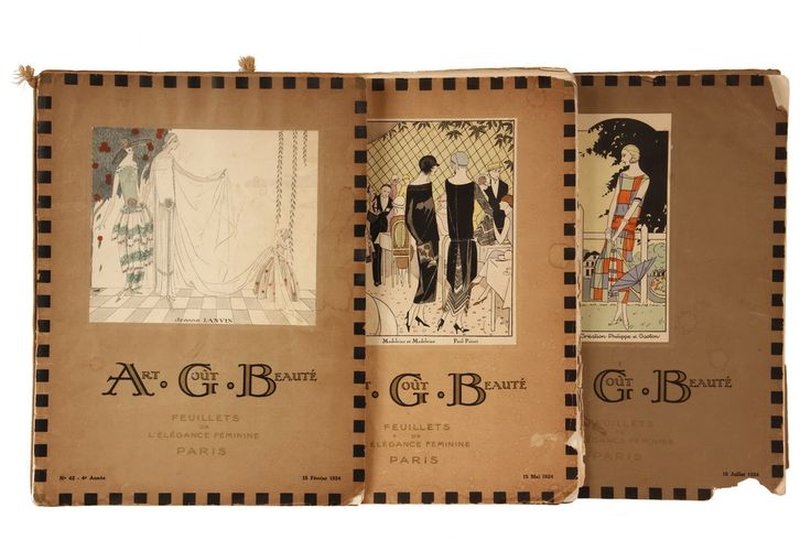 """Sale 316 Lot 561 - (3) ISSUES RARE FRENCH FASHION MAGAZINES - Art Deco Period """"Art, Gout, Beaute"""" (A.G.B.), Feb, May & July of 1924, each with many tipped in color pochoir plates, cover art. """"Feuillets de l'Elegance Feminine, Paris"""". 12 1/4"""" x 9 1/2"""", July/Feb - 24 pages, May - 28 pages, each with heavy cover, silk cord binding. #ephemera #vintagefashion"""