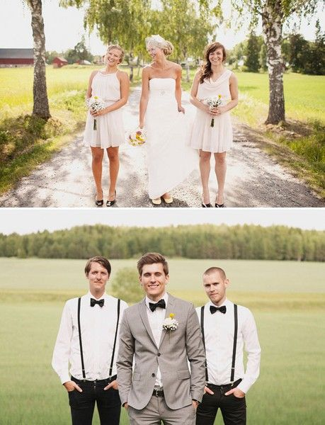groom: Idea, Bows Ties, Grey Suits, Grooms Suits, Small Wedding Parties, Bowties, Outdoor Wedding Photography, Bridal Parties, Grooms And Groomsmen